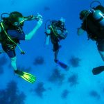 3 scubadivers underwater shot