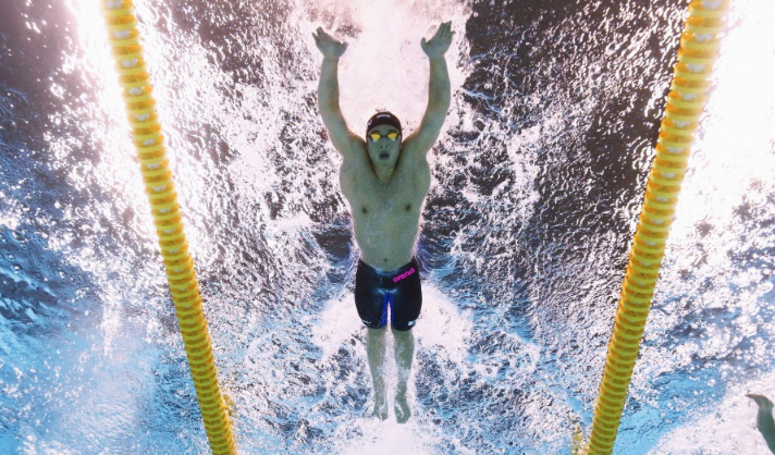 japanese competitive swimmer in pool